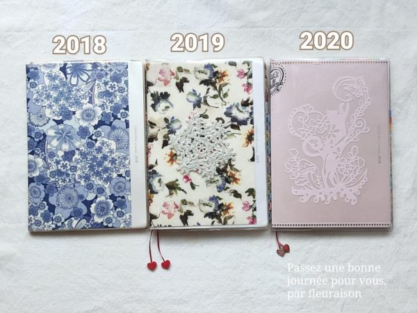 写真左から順に 逆算手帳 2018年版、2019年版、2020年版